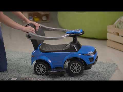 Машина-каталка с ручкой синий PT614W