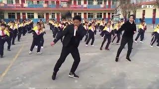 중국 초등교장이 전교생과 셔플댄스 화제