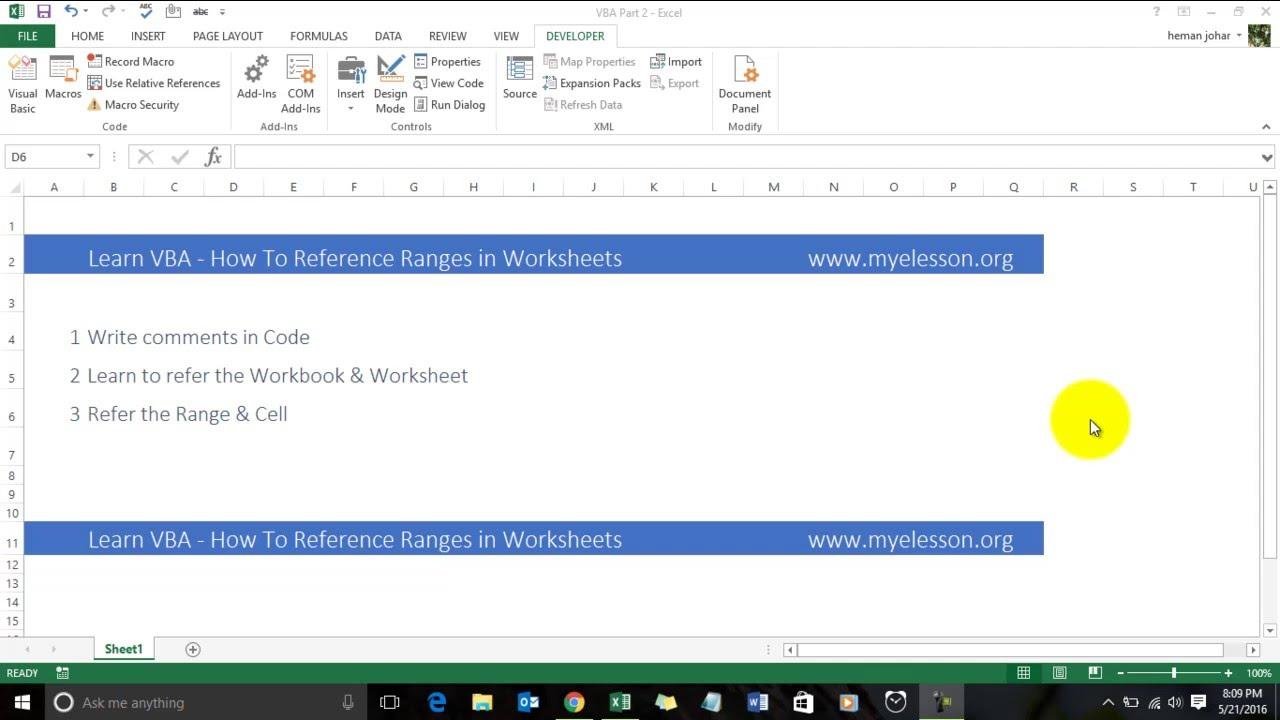 Learn VBA - Refer and Edit Range in VBA
