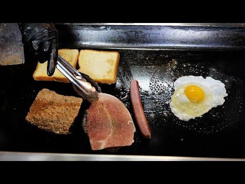 치즈 소세지 삼겹살 대왕 토스트 / cheese sausage pork egg giant toast / korean street food