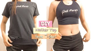 DIY HALTER TOP FROM T-SHIRT (No Sewing Machine) | Elaine Tecson