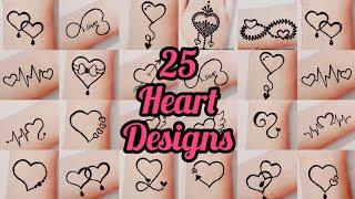 25 Most Attractive Love  Heart Tattoos - Love Mehndi Tattoo - Heart Mehndi Tattoo