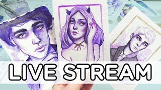🔴 LIVESTREAM - 1 COLOR WATERCOLOR CHALLENGE - 【PURPLE 💜】
