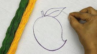 Hand Embroidery Pattern Of Mango | Bordado Fantasía : Mango (Fácil) | Fruits Embroidery