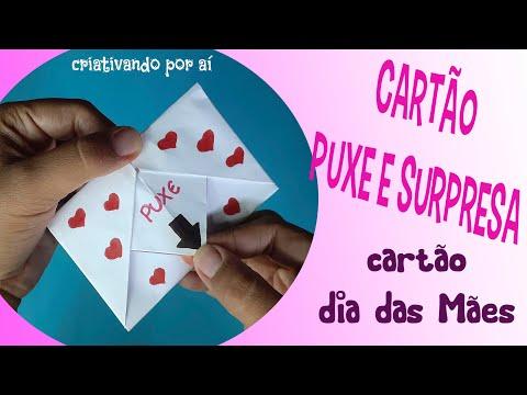 Cartão origami Puxe