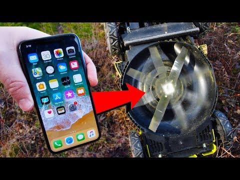 Il nuovo iPhone X se la vede con un tagliaerba
