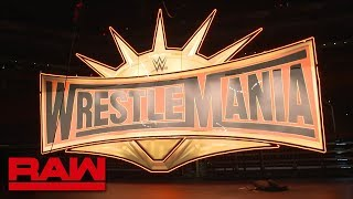 The WrestleMania 35 sign is raised before Raw: WWE Exclusive, Jan. 28, 2019
