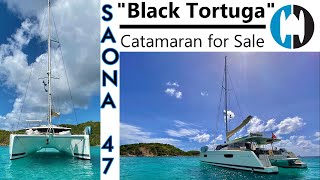 "Walkthrough of a Saona 47 Catamaran for Sale by Fountaine Pajot   ""Black Tortuga"""