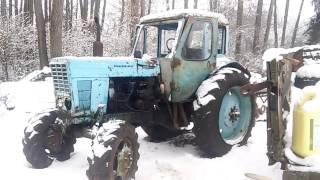 Запуск двигателя Д240 трактора МТЗ 52 в мороз при помощи пускового двигателя (ПД-10)