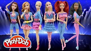 Play Doh Teen Outfits Disney Princess Elsa Anna Tiana Belle Ariel Rapunzel Inspired Costumes