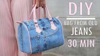 SWEET DIY JEANS PURSE BAG DESIGN Zipper Handbag Out Of Old Jeans In 30 Min
