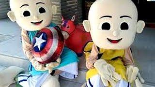 Unboxing Costume Badut Upin & Badut Ipin, Meniup Balon Karakter Captain Amerika Lagu Lebaran