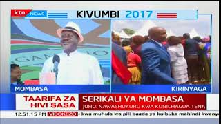 Raila Odinga atoa hotuba yake katika uapishwaji wa Hassan Joho