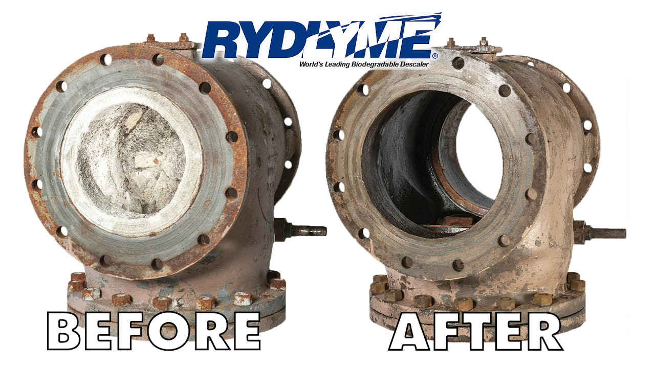 Struvite Removal from Check Valve with RYDLYME Biodegradable Descaler