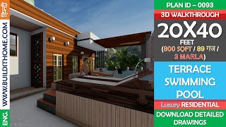 20x40 House Plan   Terrace Swimming Pool With Deck Area  