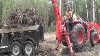 Kubota L4400 Tractor BH92 Backhoe Hydraulic Thumb (Lifting Tree Roots) Hydraulic 14000 pound Trailer