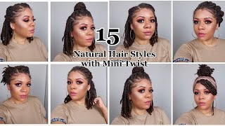 15 EASY And QUICK Hairstyles With Mini Twists | Natural Hairstyles