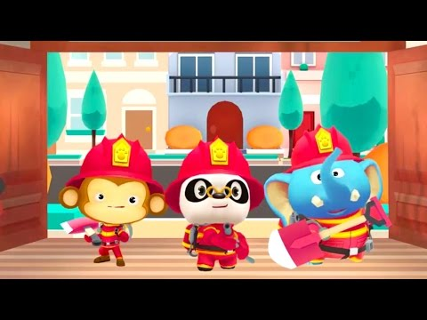 Доктор Панда, слоненок и обезьянка учатся тушить огонь. Мультики про веселую пожарную команду