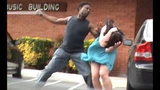 Stupid guy hits girlfriend!