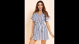 New 4 Colors Streak Loose Dress(with Belt) Wholesale SKU A28279
