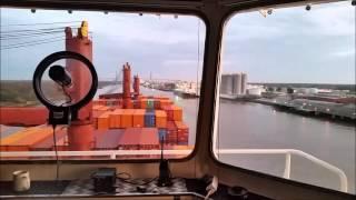 Piloting a container ship down the Savannah River