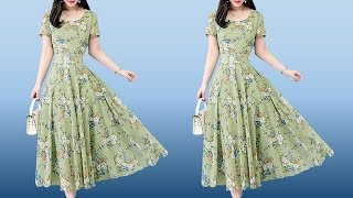 Latest Trendy Round Neck Floral Printed Short Sleeve Long Maxi Dress / Umbrella Gown