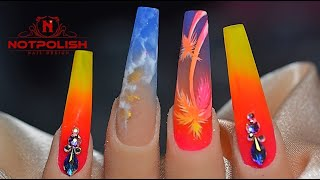PALM TREE BEACH THEME NAIL ART TUTORIAL I NOTPOLISH I LONG COFFIN NAIL SHAPE
