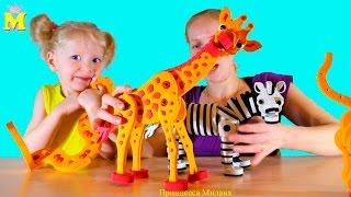 Собираем 3D пазл Животные: Змея, жираф, зебра, гепард