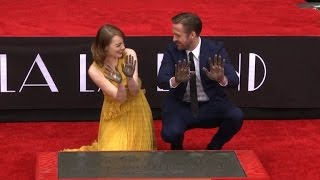 Ryan Gosling Emma Stone Immortalized In Hollywood Cement