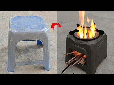 Amazing Cement Ideas Making Stove Wood Burner From Plastic Chair