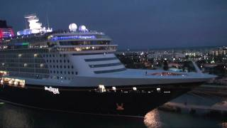 """Disney Wonder"" and ""Disney Dream"" exchanging farewell salutes in Port Canaveral on January 6, 2011"