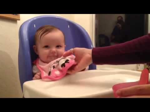 4 month old baby first time trying solid food | Youtube
