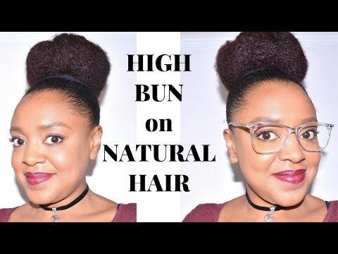 SIMPLE HIGH BUN TUTORIAL on THICK NATURAL HAIR! | MEDIUM LENGTH | THE CURLY CLOSET