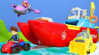 Download Video Paw Patrol Unboxing:  Sea Patroller, Feuerwehrmann Marshall, Ryder, Chase, Rubble für Kinder MP3 3GP MP4