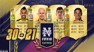 FIFA 18 PLAYER RATINGS FROM 30 to 21 - 96 RATED AUBAMEYANG!!! - FIFA 18 Ultimate Team #FIFA18Ratings