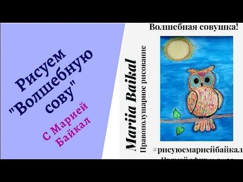 Как нарисовать сову. Правополушарное рисование с Марией Байкал прямой эфир от 11.04.20
