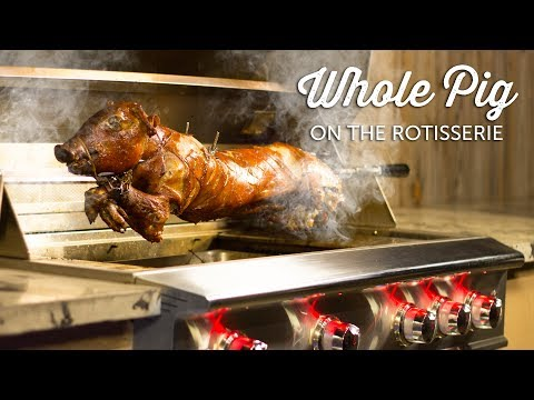 Whole Pig Roast on the Rotisserie of The Blaze Professional Gas Grill | BBQGuys.com