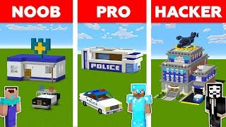 Minecraft NOOB vs PRO vs HACKER: POLICE STATION in Minecraft / Funny Animation