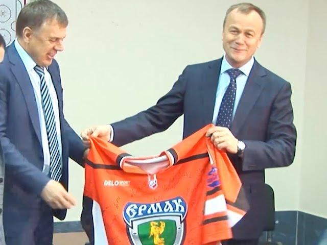 Губернатор Приангарья поздравил хоккеистов «Ермака»