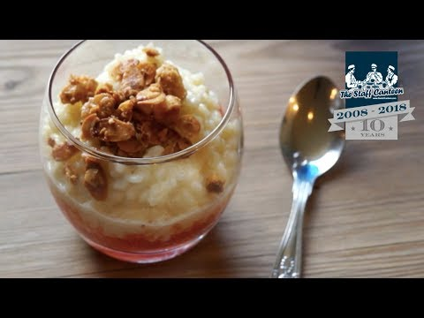 Dom Chapman creates a warm vanilla rice pudding recipe with, peaches and granola