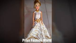 DIY Barbie Dress Umbrella Frock. Barbie Dress Making Tutorials.