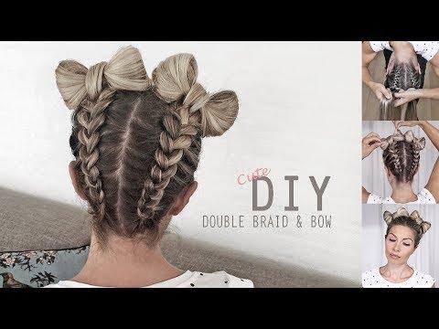Cute Braid & Bow style 🎀 How to: Braid upside down into double Hair Bows – DIY Tutorial (видео)