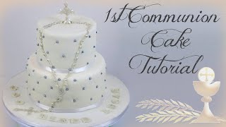 1st COMMUNION CAKE TUTORIAL || Janies Sweets