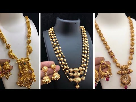 Latest Gold Mini Haram Gold Necklace Designs with weight ... Bridal Jewellery