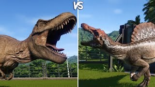 Jurassic World Evolution - T-REX vs SPINOSAURUS -  Gameplay (PS4 HD) [1080p60FPS]