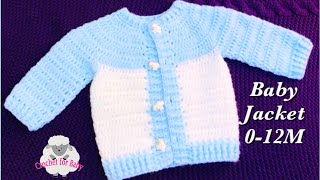Super Easy Baby Set - Crochet Cardigan Jacket - Boy Or Girl 0-12M - Beginners -Crochet For Baby #189