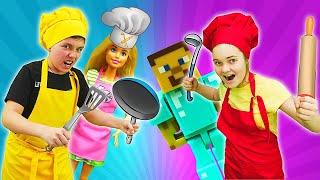 Кукла Барби и Стив Майнкрафт в Челлендже - Я готовлю лучше! Видео игры для детей.