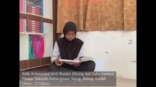 Adik Anis, Pelajar Sekolah Kebangsaan Siong, Baling, Kedah (Orang Asli Suku Kensiu) tekun buat ulangkaji