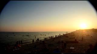 Time lapse Заката у Чёрного моря на пляже в Лазурном - Украина - (50секунд=62минуты) 30.07.2015