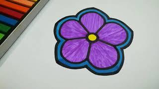 HOW TO DRAW VIOLET FLOWER STEP BY STEP L EASY DRAWING TUTORIAL